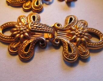 Vintage Brass Clasp Connectors Flowers Necklace Clasp