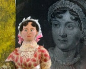 Jane Austen Doll Miniature Author of Pride and Prejudice Art  Regency Era