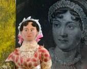 Jane Austen Doll Miniature Author of Pride and Prejudice Art  Regency Era