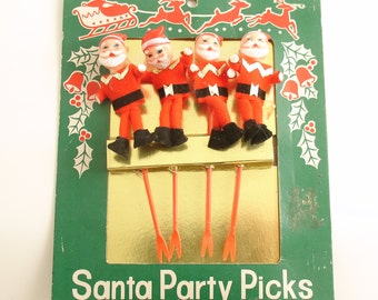 Vintage Christmas Party Picks Santa Claus