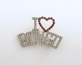 Vintage Brooch I Love Bingo Pin Heart Bridal Bingo Prong Set Rhinestones