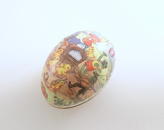 Vintage Easter Egg Paper Mache Candy Container Anthropomorphic