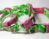 Handcrafted Lilly Pulitzer Cabana Pink in the Garden Fabric Dog Collar- All Sizes- Free Shipping