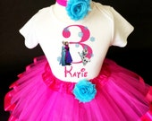 Frozen Pink Blue Elsa Anna Princess Olaf Snowman 3rd Third Girl Birthday Tutu Outfit Custom Personalized Name Age Party Shirt Set
