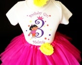 Dora The Explorer Princess Crown Hot Pink Purple Yellow 3rd Third Girl Birthday Tutu Outfit Custom Personalized Name Age Party Shirt Set