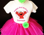 Elmo Pink Green 2nd Second Girl Birthday Tutu Outfit Custom Personalized Name Age Party Shirt Set