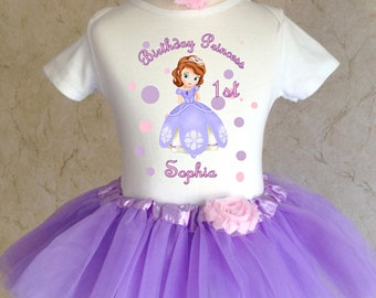 Princess Sofia the first 1st 2nd 3rd 4th 5th 6th 7th Birthday Personalized Custom Name Age Shirt & Tutu Set Girl Outfit Sophia
