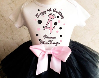 Princess Crown Light Pink Black Polka Dots Dotted 4th Girl Birthday Tutu Outfit Custom Personalized Name Age Party Shirt Set