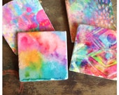 Pink Splash - spring watercolor stone coasters