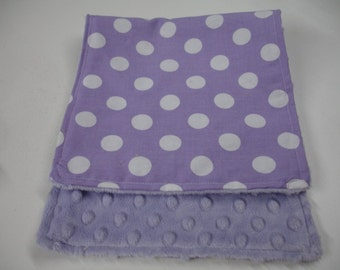 Lavender Medium Dots Baby Burp Cloth with Minky