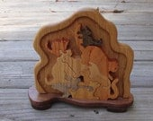 Wooden Cats Puzzle With Decorative Base Handmade One of a Kind