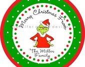 The Grinch Christmas Holiday Address Labels / Stickers / Cupcake Toppers / Thank You Tags or stickers / various sizes
