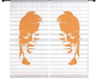 "Buddha Head Design 60"" Curtains in orange, white and gray"