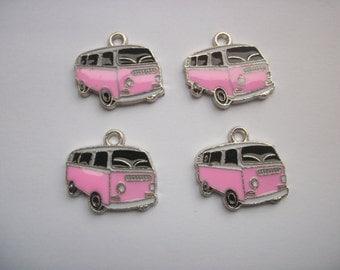 4 VW Camper Vans Pink Enamelled Charms