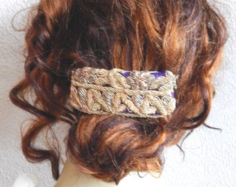 Purple gold barrette,embroidered barrette, beaded barrette, hair barrette,fabric barrette, hair accessory, fashion accessory