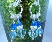 Beaded Long Earrings - Glass Acrylic Facetted Beads - Dark & Light Blue- Silver Metal - Studs -   Summer Jewelry - Gift Idea - Trendy