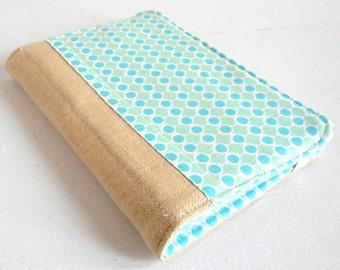 mini list coupon organizer memo pad holder linen aqua dots