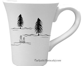 Snow bunnies mug kiln fired pottery coffee tea cafe mug black and white bunny rabbit cup