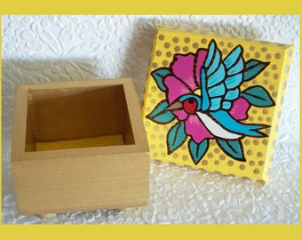 Hummingbird Jewelry box Yellow, Gold