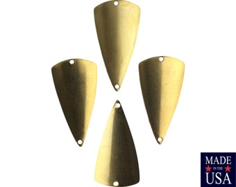 2 Hole Raw Brass Dapped Triangle Connector Pendants (4) mtl363