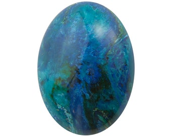 Vintage Acrylic Blue Green Marbled Cabochons 25x18mm (4) cab811K