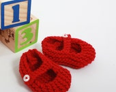 Hand-knitted Ruby Red Baby Shoes, 0-3 Months