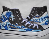 Hand Painted Converse Shoes - The Great Wave Off Kanagawa - Grey
