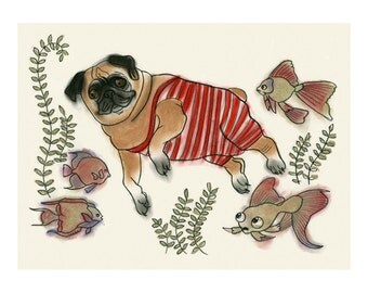 "Pug dog  Art print - Pascal swimming - 11.7"" X 8.3"" print - 4 for 3 SALE"