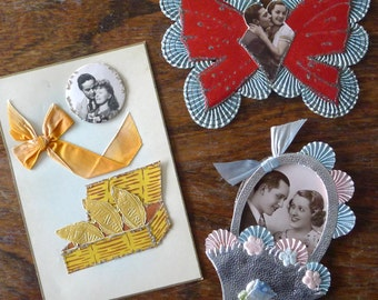 3 french romantic vintage paper items