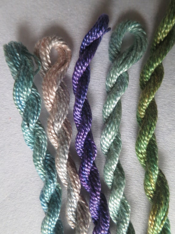 Aqua, Green and Red-Lilac, Hand dyed thread collection, one of a kind, unique