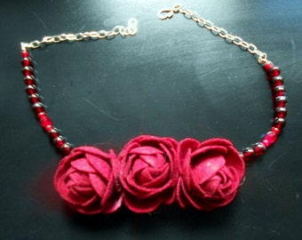 Ruby Red Felt Floral Necklace