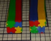 Autism Awareness Puzzle Polymer Clay Cane