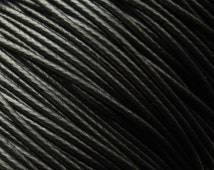 Black Waxed Poly Cord 1mm - 100 Yard Spool - Polyester Braided Jewelry Cord, Macrame Cord (CCS0005)