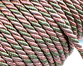 Variegated Cord, Med. Lt Bronze, Olive Green, Terracotta Braided Cord Trim 5/16 inch diameter x 3 yards, DecoPro Baroque, Chapparal