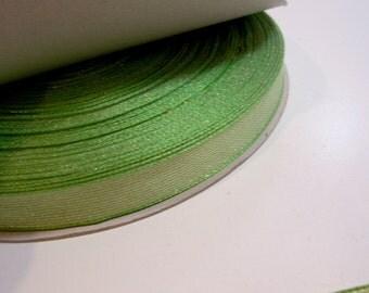 Metallic Green Ribbon, Offray Green Moonstruck Ribbon 5/8 inch wide x 10 yards