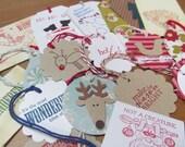 Mix it Up Bag of 20 Christmas Tags. Embellishment. Place Setting.  Goodie Bag. Random Mix