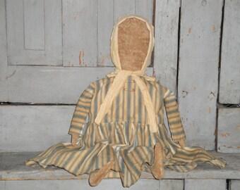 Primitive Prairie Doll | Handmade Cloth Doll | Old Ticking Dress Doll |  Fabric Stuffed Doll
