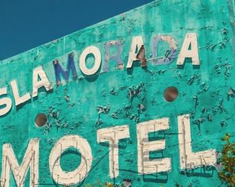 Vintage motel sign, neon sign, Florida Keys, turquoise, aquamarine, neon lights, housewarming, rusty, roadtrip, mid century, retro modern