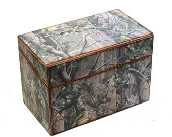 Wood Recipe Box For Men Camo Camouflage Fits 4x6 Cards