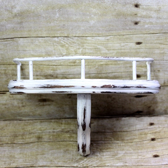Rustic Small Shelf White Distressed Wood Shelf Candle Holder