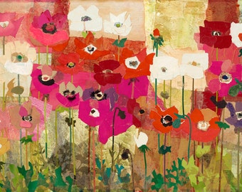 ANEMONES Mixed Media Collage