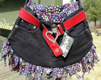 Black Denim Handbag Recycled UpCycled Jean Purse