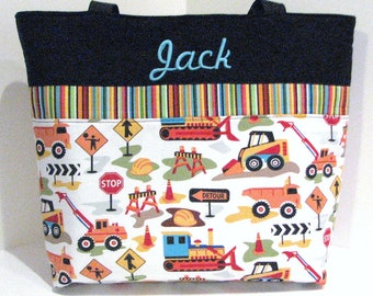 Personalized Diaper bag . Dig It and Turquoise . Regular Size . Monogrammed FREE . great boy diaper bag