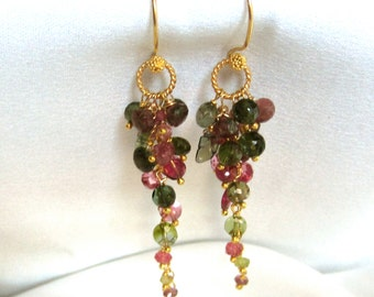 Tourmaline Earrings - Green Earrings - Pink Earrings - Everyday Earrings -Statement Earrings