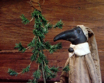 Woodland Santa Crow, A primitive Pattern from Raven's Haven