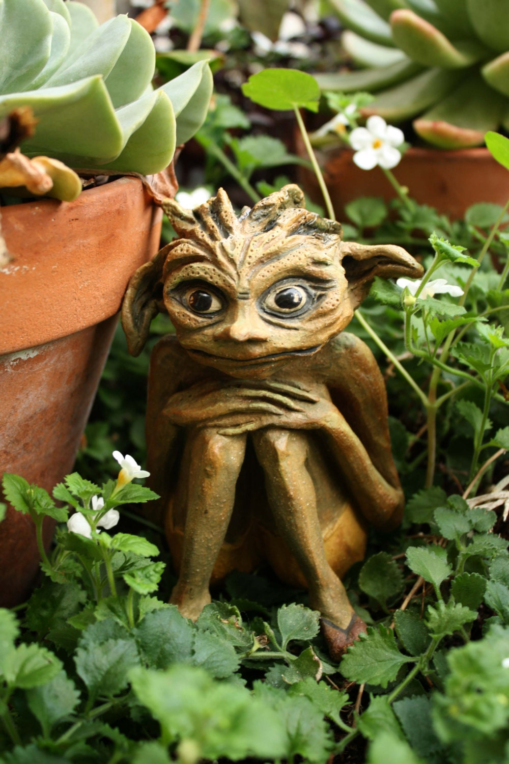 Nervous Nelly Garden Goblin Original Sculpture. Small Garden