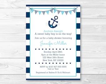 Nautical Baby Shower Invitation / Nautical Baby Shower Invite / Anchor Baby Shower Invite / Navy Blue & Aqua / Baby Boy / PRINTABLE A222