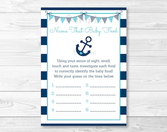 Nautical Anchor Name That Baby Food Baby Shower Game INSTANT DOWNLOAD