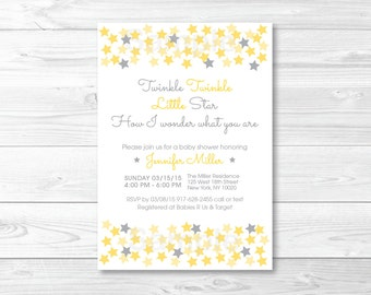 Yellow & Grey Twinkle Star Baby Shower Invitation / Gender Neutral / PRINTABLE