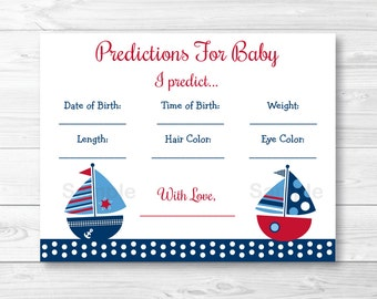 Nautical Sailboat Baby Predictions Cards / Baby Shower Game / Sailboat Baby Shower / INSTANT DOWNLOAD